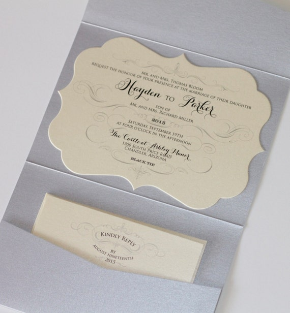 Hayden die cut glitter wedding invitation pocket fold for A5 pocketfold wedding invitations