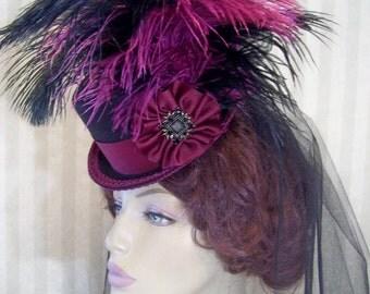 Steampunk Mini Top Hat Victorian Mini Top Hat Wedding Hat Halloween Hat Cosplay Hat