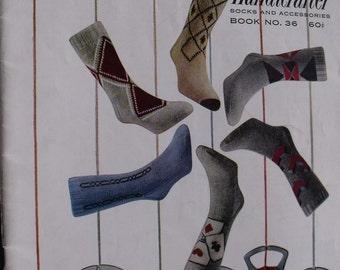 Bernat Handicrafter Knitting Book #36  Knit Mens Sock Patterns, Sweater and Vest Patterns, Golf club cover Pattern / Vintage 1953