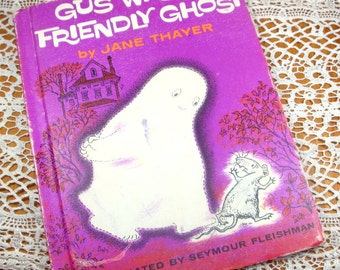 Vintage Children's Book, Gus Was A Friendly Ghost, Jane Thayer, Child's Story, Illustrated By Seymour Fleishman, Purple, 1962  (485-13)