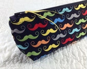 Back To School - Zippered Pouch - Pencil Case - Cosmetic Bag - Tech Accessories Bag - Mustache Brights