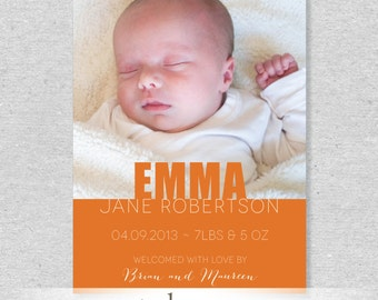 Modern and Bold Photo Birth Announcement