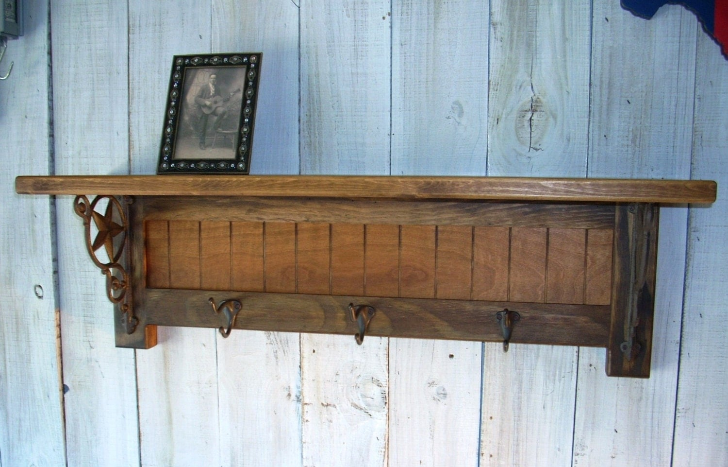 Western Furniture Wall Mounted Coat Rack Shelf With Vintage