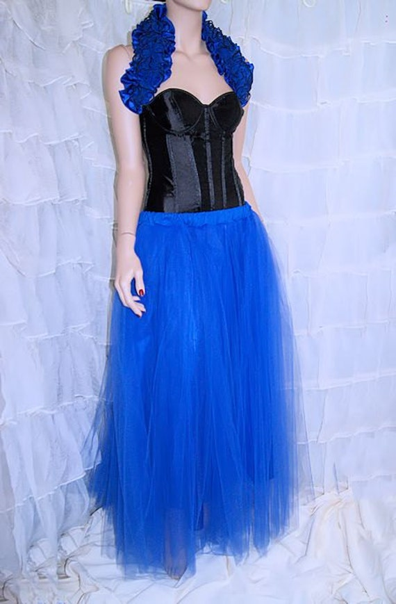 formal royal blue floor length tulle skirt all sizes