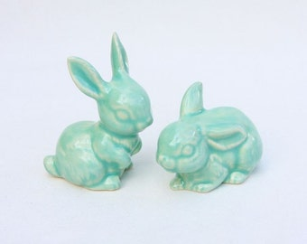 Two Little Bunnies in Stoneware with Mint Green Glaze - Wedding Cake Topper
