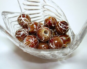 Brown with Maroon White Splash Round Acrylic 10mm Beads (Qty 20) - B1977