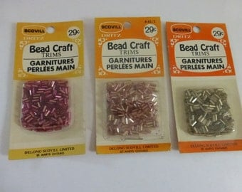 3 Vintage Bead Craft Silver Lined Glass Bugle Bead Packages  NOS  S104