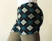 Basic shorts, peacock blue argyle print  -  available in sizes XS, S, M, L, XL and custom sizes - kezbirdie