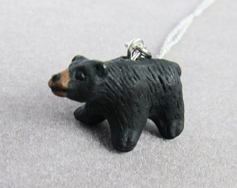 Black Bear Ceramic Necklace  (R3A)