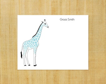 Stationery set of 8 PERSONALIZED Giraffe Note Cards -