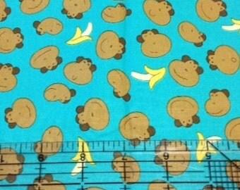 Funky Monkey Heads fabric | Teal Aqua Monkeys | Michael Miller