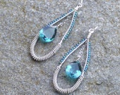 Teardrop earrings  with glorious Paraiba Quartz briolettes   chandelier  blue green beads   silver wire wrapped