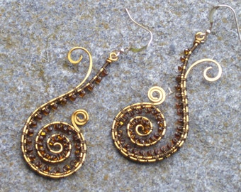 Ocean Treasure Earrings ... vintage bronze wire wrapped with amber beads