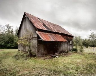 Rusty Tin Roof Barn, Rustic, Agricultural, New York State, Landscape, Farms and Barns, Fine Art Photography Print, Signed