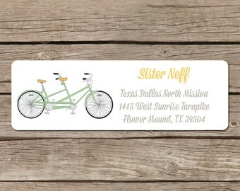 Customized Return Address Label - Matches Bicycle Built for Two Design - Self Adhesive