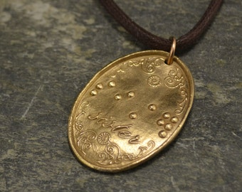 Sister Pendant in Braille Bright Bronze