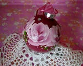 Round Glass Ornament Hand Painted Pink Roses Rhinestones