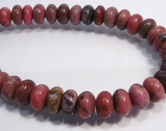 8 Beads....Rhodonite Smooth Puffed Gemstone Rondelle Beads...10x6mm...BB