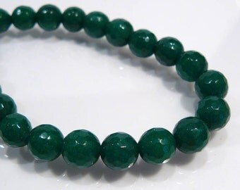 6 Beads....Green Jade Faceted Round Gemstone Beads....8mm....BB
