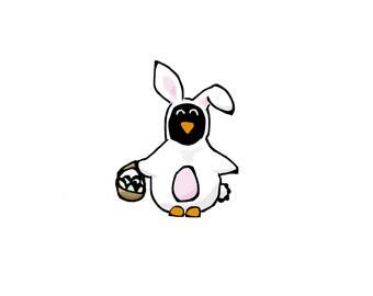 Easter Bunny Penguin Card