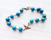 Lauren Vintage Swallow Bracelet in Blue Agate and Brass