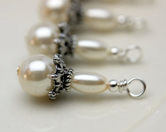 Classic Ivory Round and Rice Pearl Wedding Bead Dangle Charm Drop Set