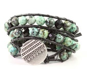 African Turquoise Wrap Bracelet Black Leather Winter Fashion Boho Style Triple Wrap Bohemian Jewelry Fall Boho Wrap Bracelet