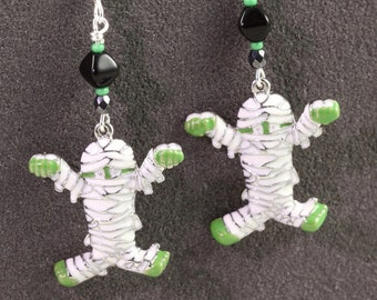 Halloween Jewelry Mummy Earrings Green White Black Spooky Earrings Halloween Earrings Scary Charms Zombie Earrings
