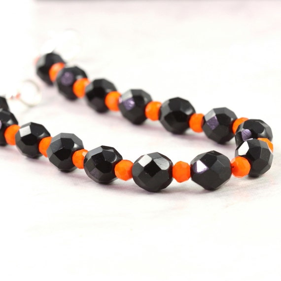 Orange Black Halloween Jewelry Bracelet Fall Fashion Pumpkin Orange Czech Glass Accessory
