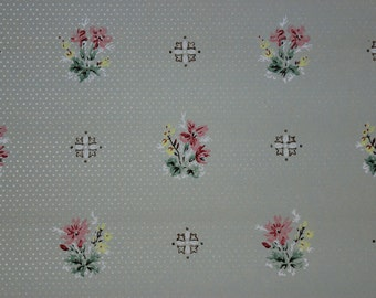 1920's Vintage Antique Wallpaper Pretty Flower Bouquets with Geometrics on Green--Made in England