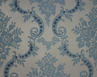 1970's Vintage Wallpaper Retro Blue Flocked Rose Damask on Blue