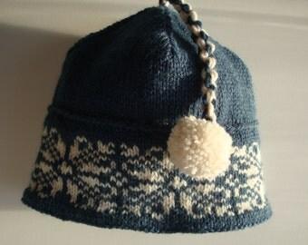 Fair Isle Toddler, Baby Hat, Cap, Norwegian, Scandinavian, Snowflake, Blue and Cream