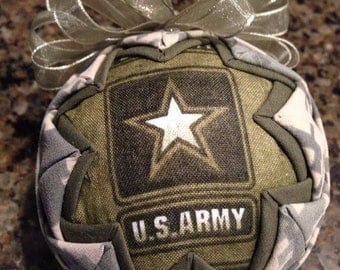 Army Fabric Quilted Ornament ball-- after christmas sale!!