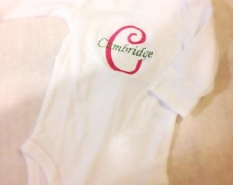 Monogrammed onesie, baby onesie, monogram baby outfit, personalized onesie