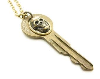 OOAK Unisex Brass Skull Key Layering Necklace