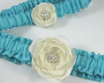 Garter set in Aqua Blue and Ivory, Rose, Wedding Garter Set H213, bridal garter accessory