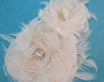 Double Ivory Lace and Organza Feather Rose Bridal Hair Set F157 - bridal hair accessory