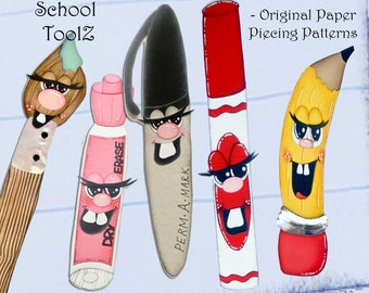 Set of School Themed Paper Piecing Patterns - dry erase, perma marker, pencil marker, paintbrush