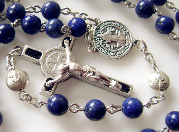 Natural 6mm Real Lapis Lazuli Bead Catholic Rosary Amp Cross