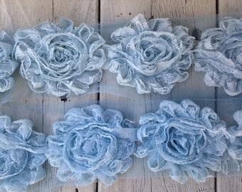 NEW-Shabby Rose Lace Trim LIGHT BLUE-2 1/2 inches-1 yard piece