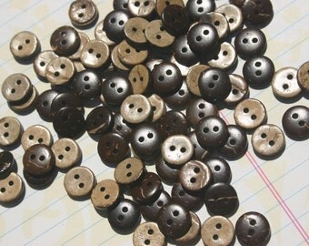 "Tiny Wood Buttons - Small Wooden Button - Little Coconut Wooden Sewing Button - 3/8"" Wide"