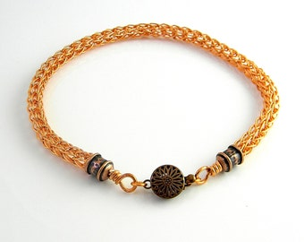 10.75 inch Copper Trichinopoly Anklet with Antiqued Copper Ends and Clasp