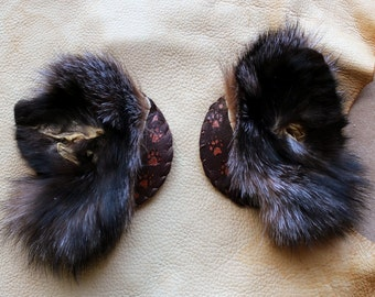 The Sage - pair of handmade fox fur ear and deerskin fascinators headpiece with painted pawprints