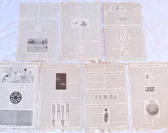 "THINGS to MAKE & DO  -  antique prints --  from ""Book of Knowledge"" 1912 (7 double sided pages)"