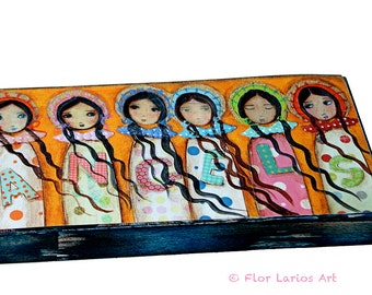 Angels -  Giclee print mounted on Wood (3 x 6inches) Folk Art  by FLOR LARIOS