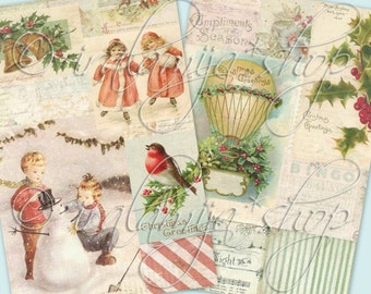 SILENT NIGHT PAPeRS Collage Digital Images -printable download file-