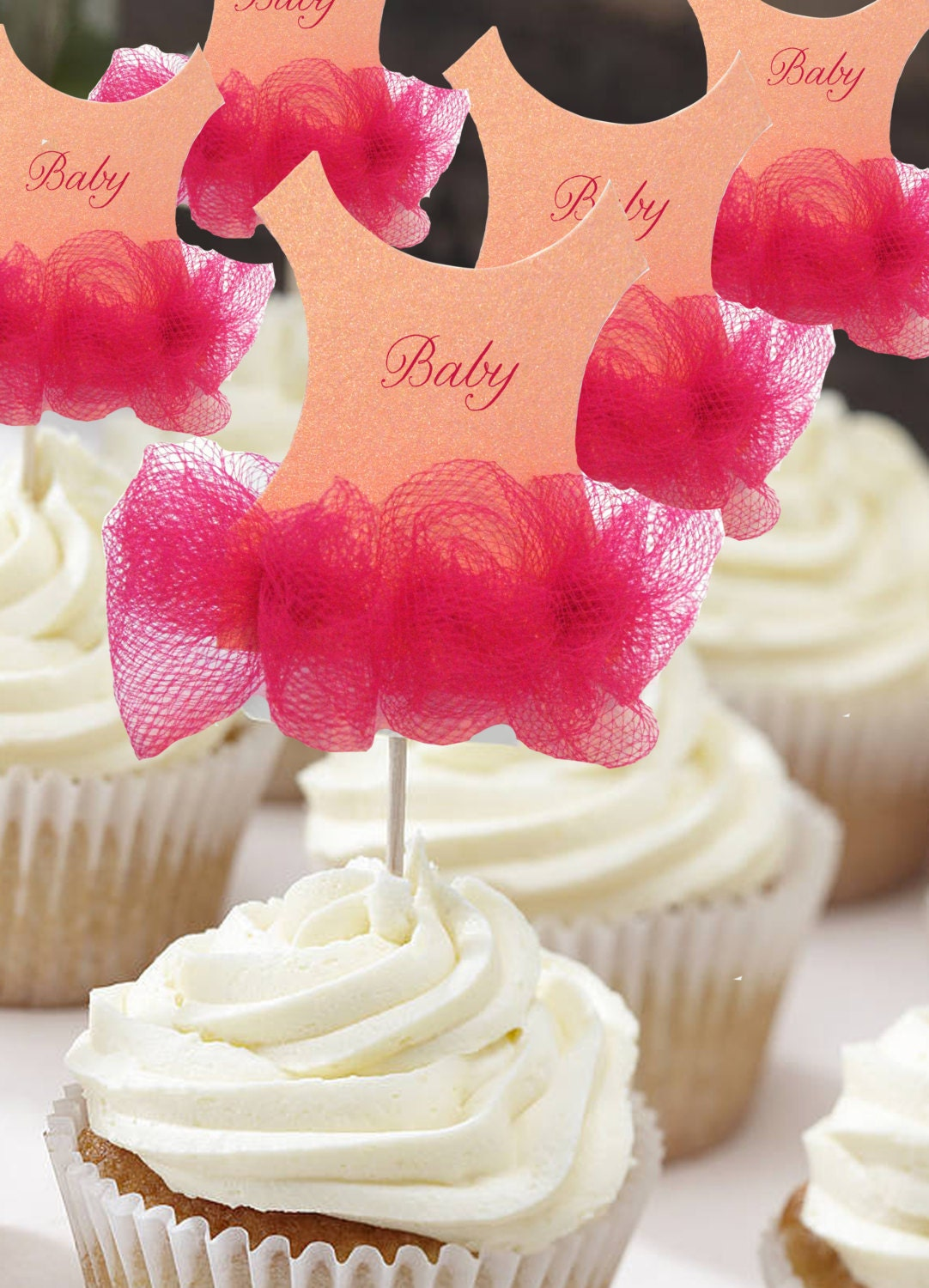 Anaderoux set of 24 tutu baby shower cupcake toppers for Baby shower cupcake picks decoration