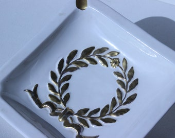 Vintage Ashtray KB Koscherak Brothers Made In Italy Hand Painted White and Gold Jewelry Tray