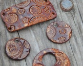 Handmade Pottery Beads 4 piece set in Copper Brown