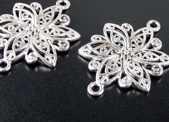 Pendant Blank 2 Pendant Tray Antique Silver Flower Filigree Victorian 40mm (1054cap40s1) ... last remaining packages